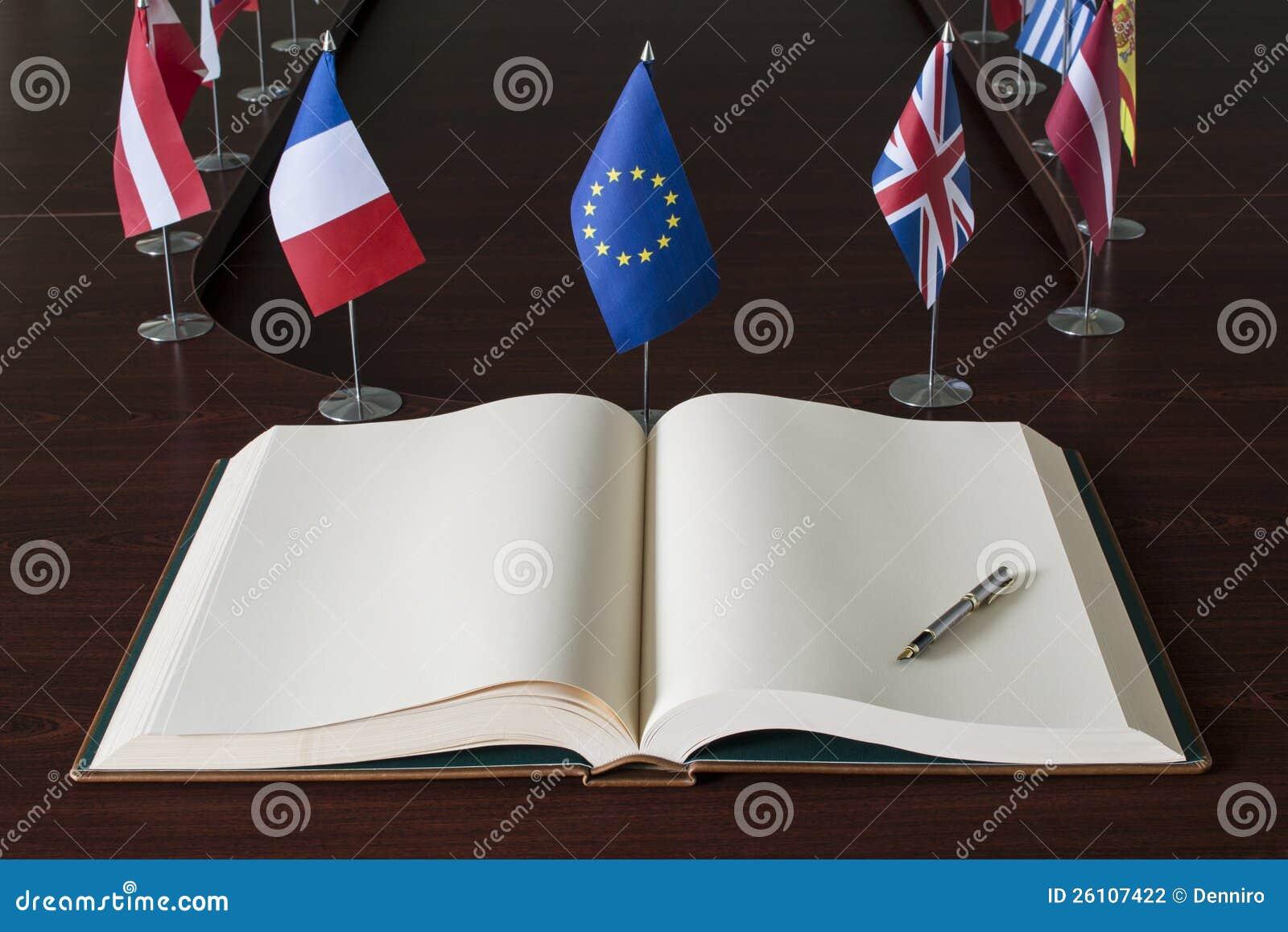 Open spread book, fountain pen, EU (European Unio