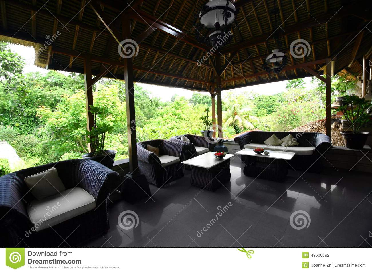 Bali House Plans Tropical Living Open Style Living Room Stock Photo Image Of House