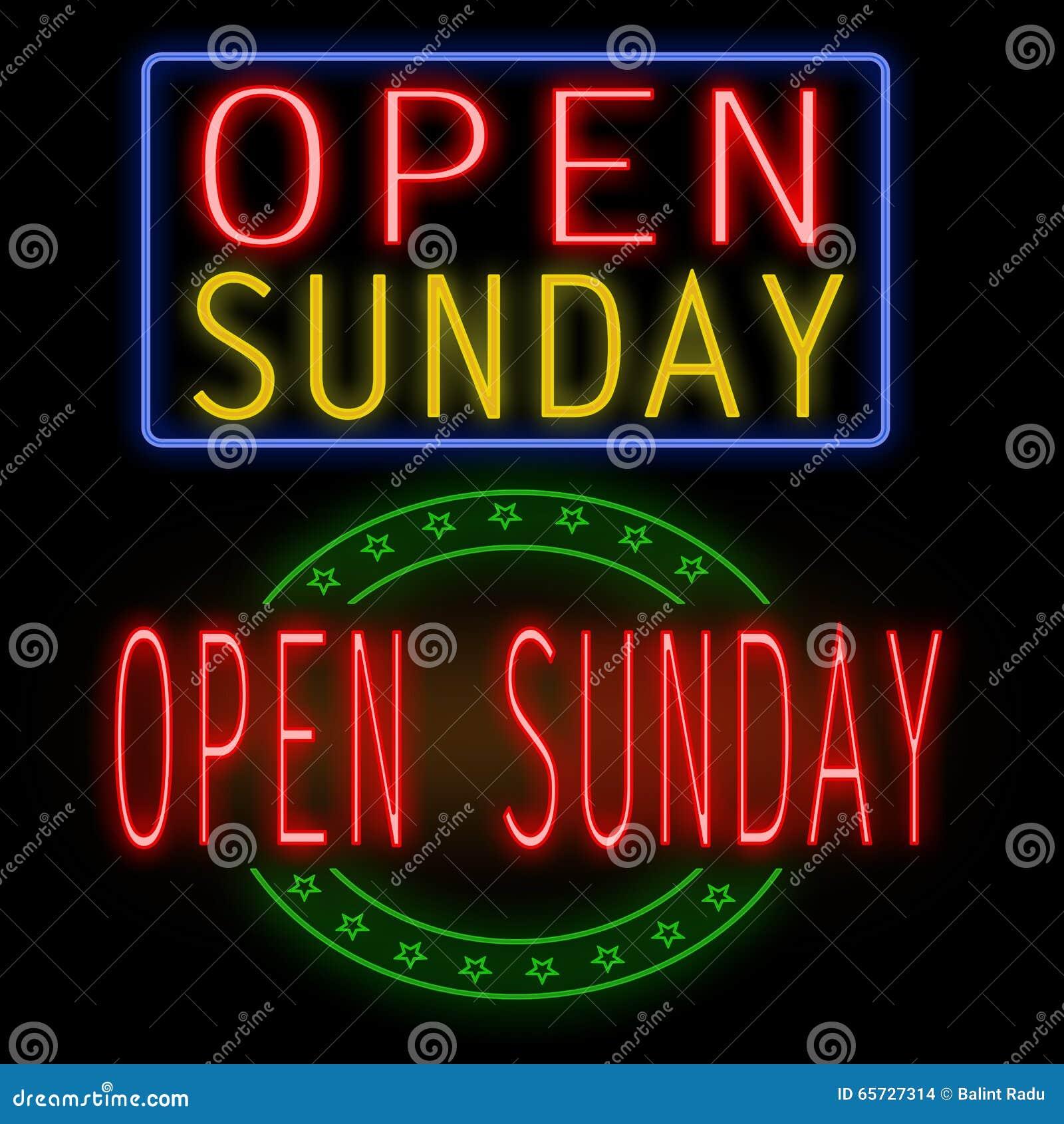 Open Sunday Neon Sign Stock Illustration