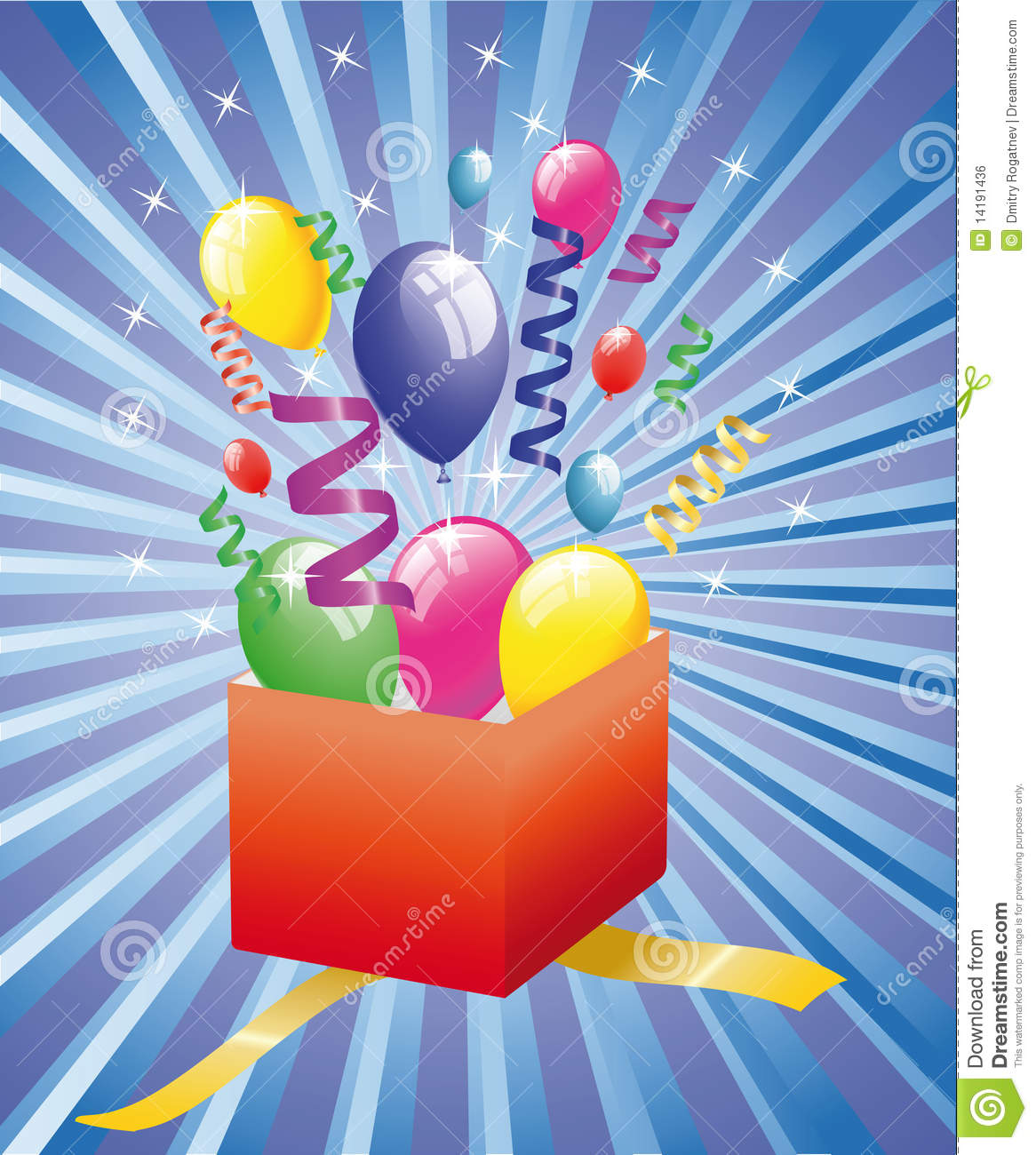 Open surprise gift with balloons