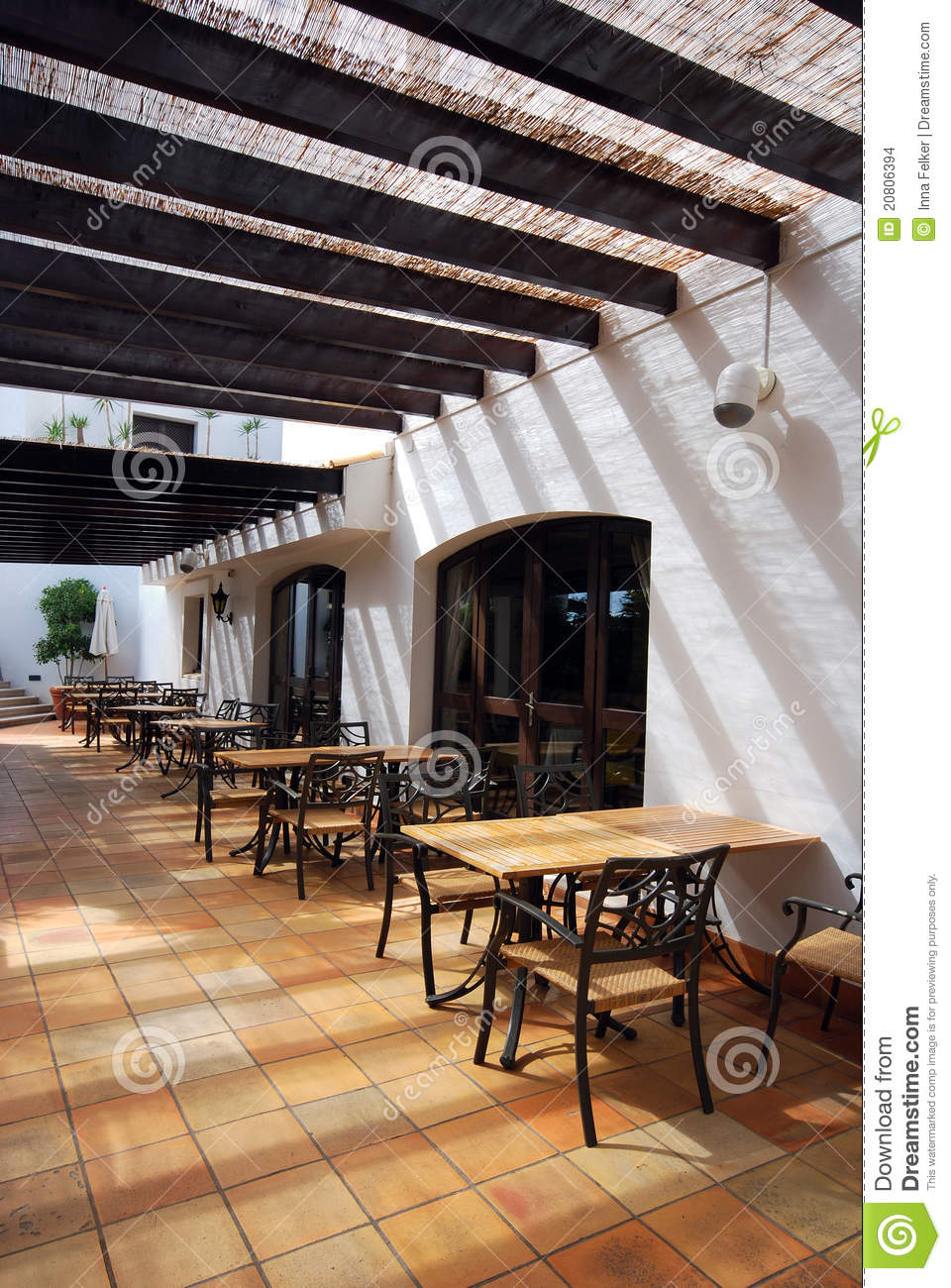 Open terrace cafe in mediterranean town stock images