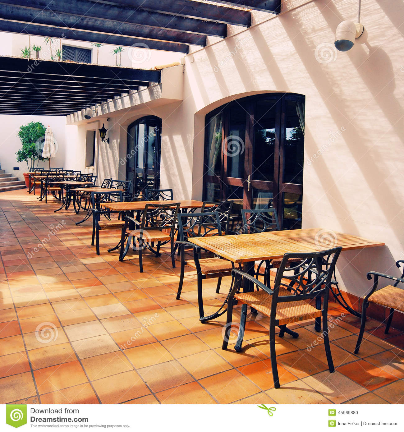 Open terrace cafe in mediterranean town stock photo for Terraces opening times