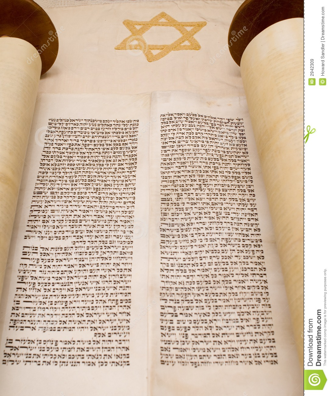 Open torah scroll stock image  Image of star, judaic, religious