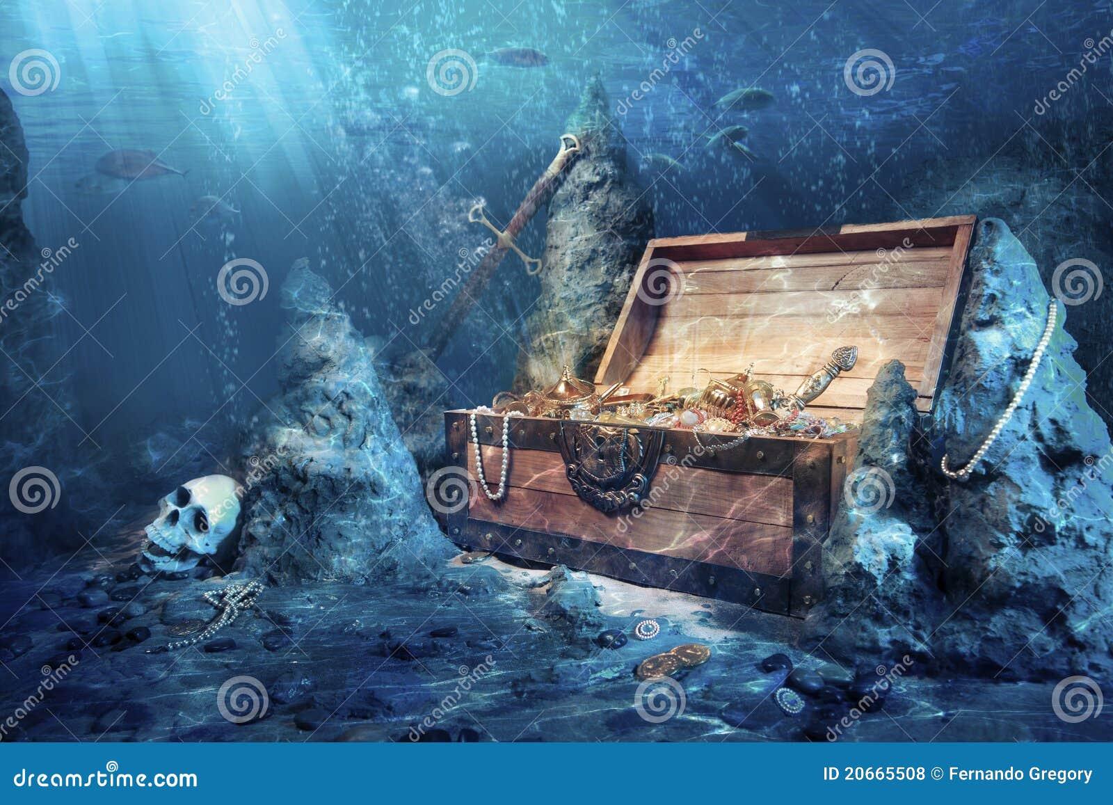 egyptian treasure chest underwater