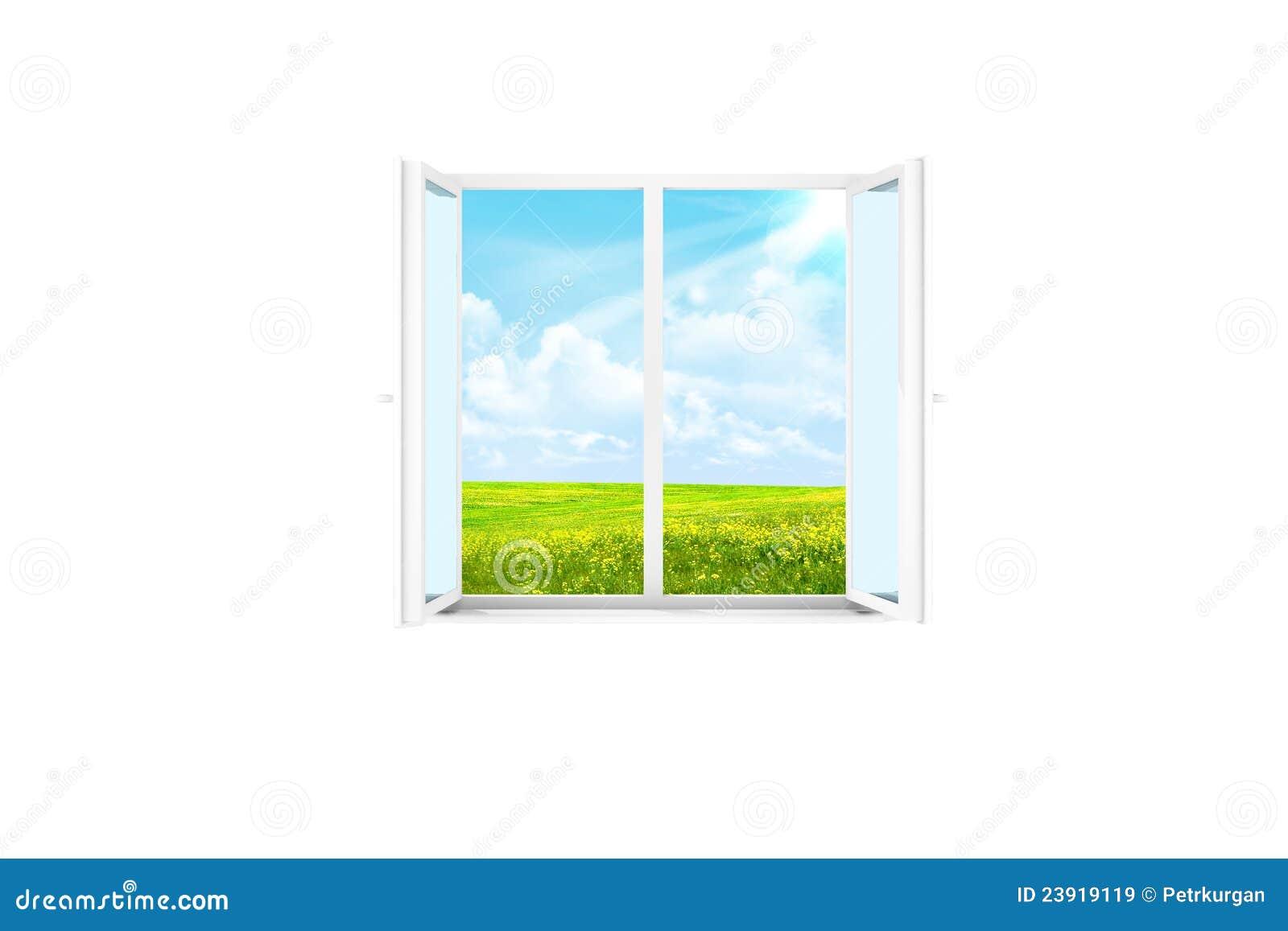 Open venster in een witte ruimte