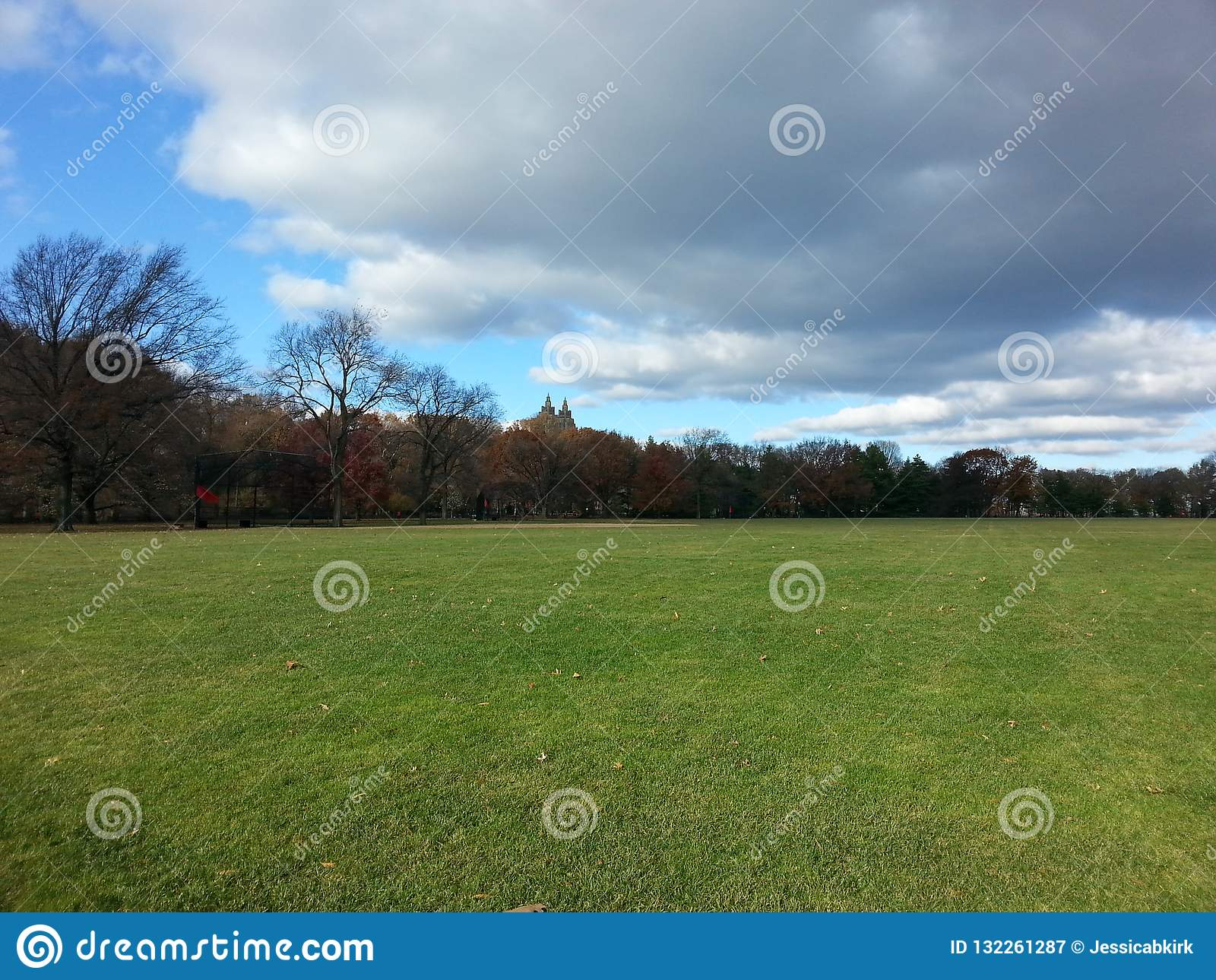 Open view of Great Lawn Central Park in autumn with one great cloud