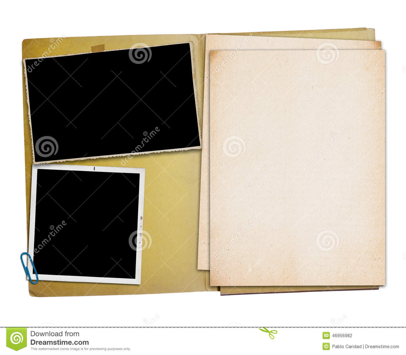 Open vintage folder with two old photographs stock photo for Best document folder