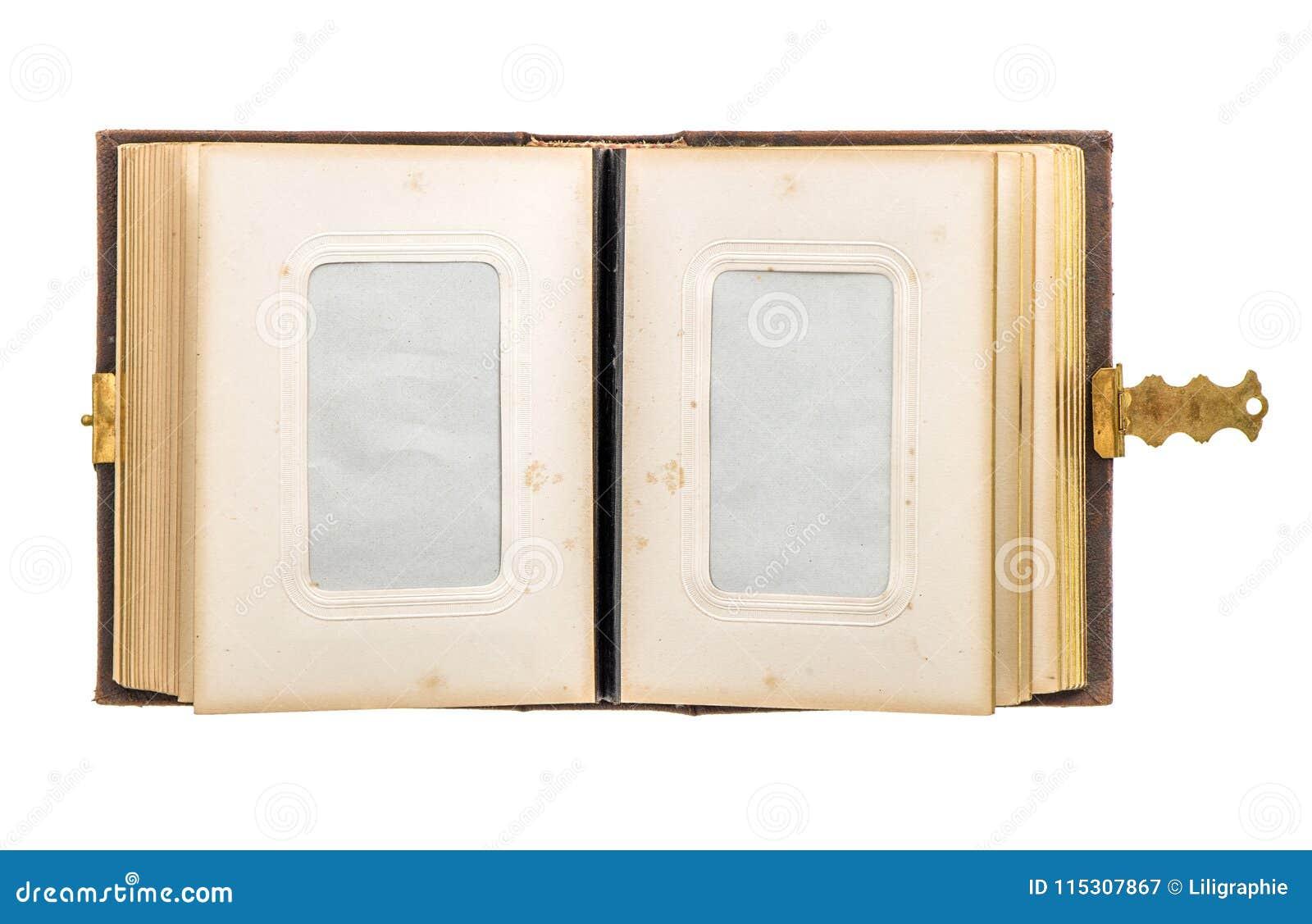 Open vintage photo album aged paper pages