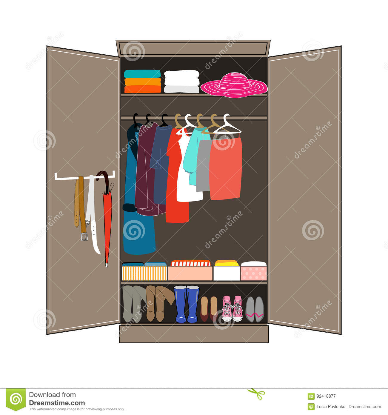 Open Wardrobe With Tidy Clothes Home Interior Flat Design Vector Illustration Closet