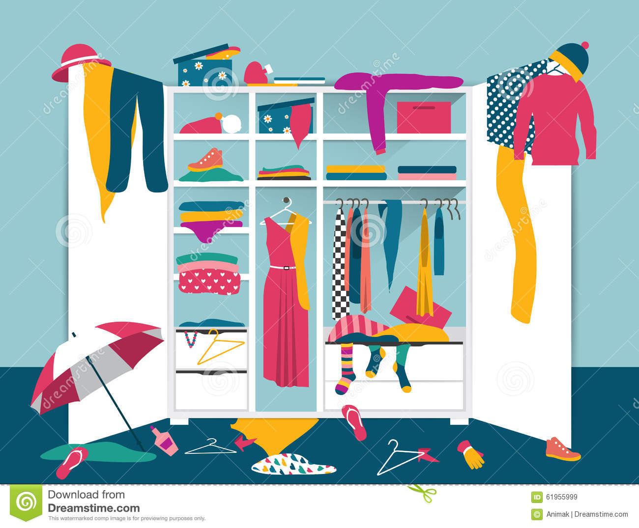 Open Wardrobe White Closet With Untidy Clothes Cartoon