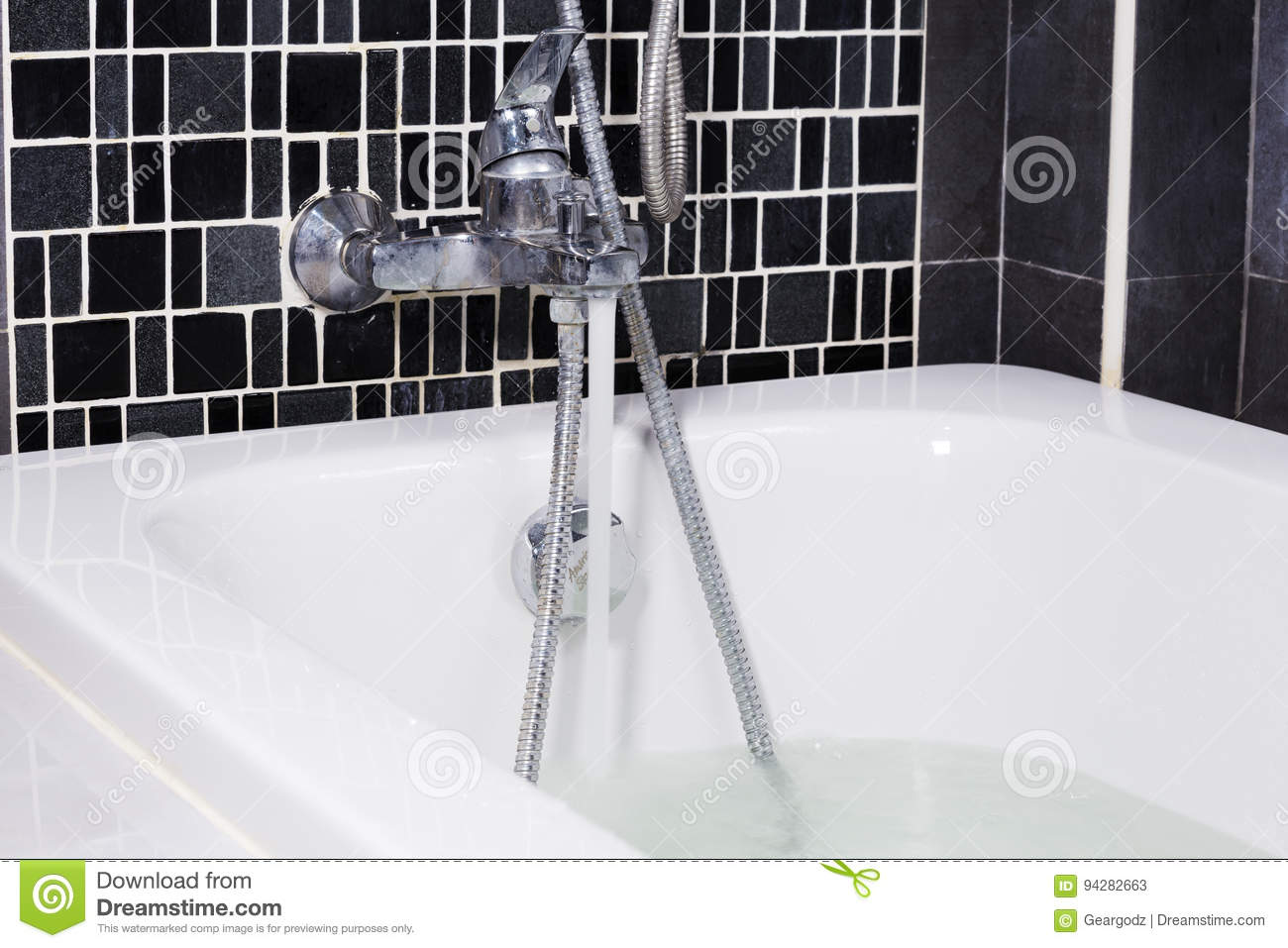 Open Water From Faucet To Bathtub In Bathroom Stock Image - Image of ...