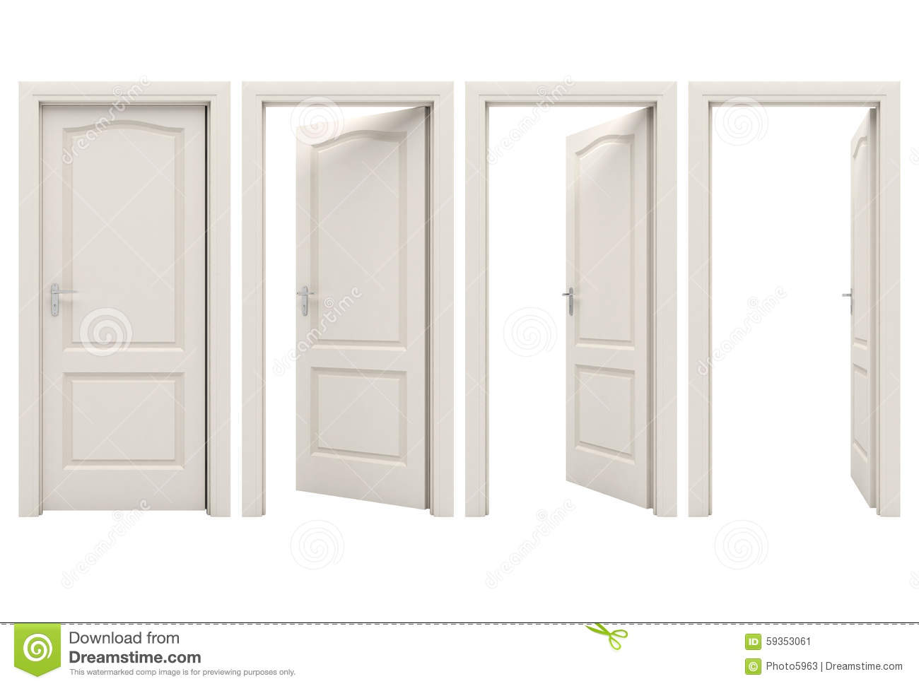 Open white door stock illustration. Illustration of future ...