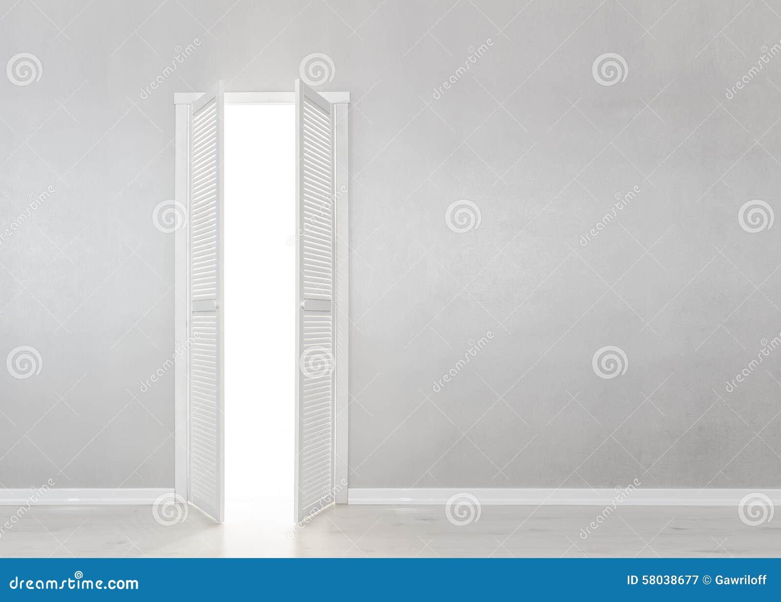 Open White Door on gray Wall
