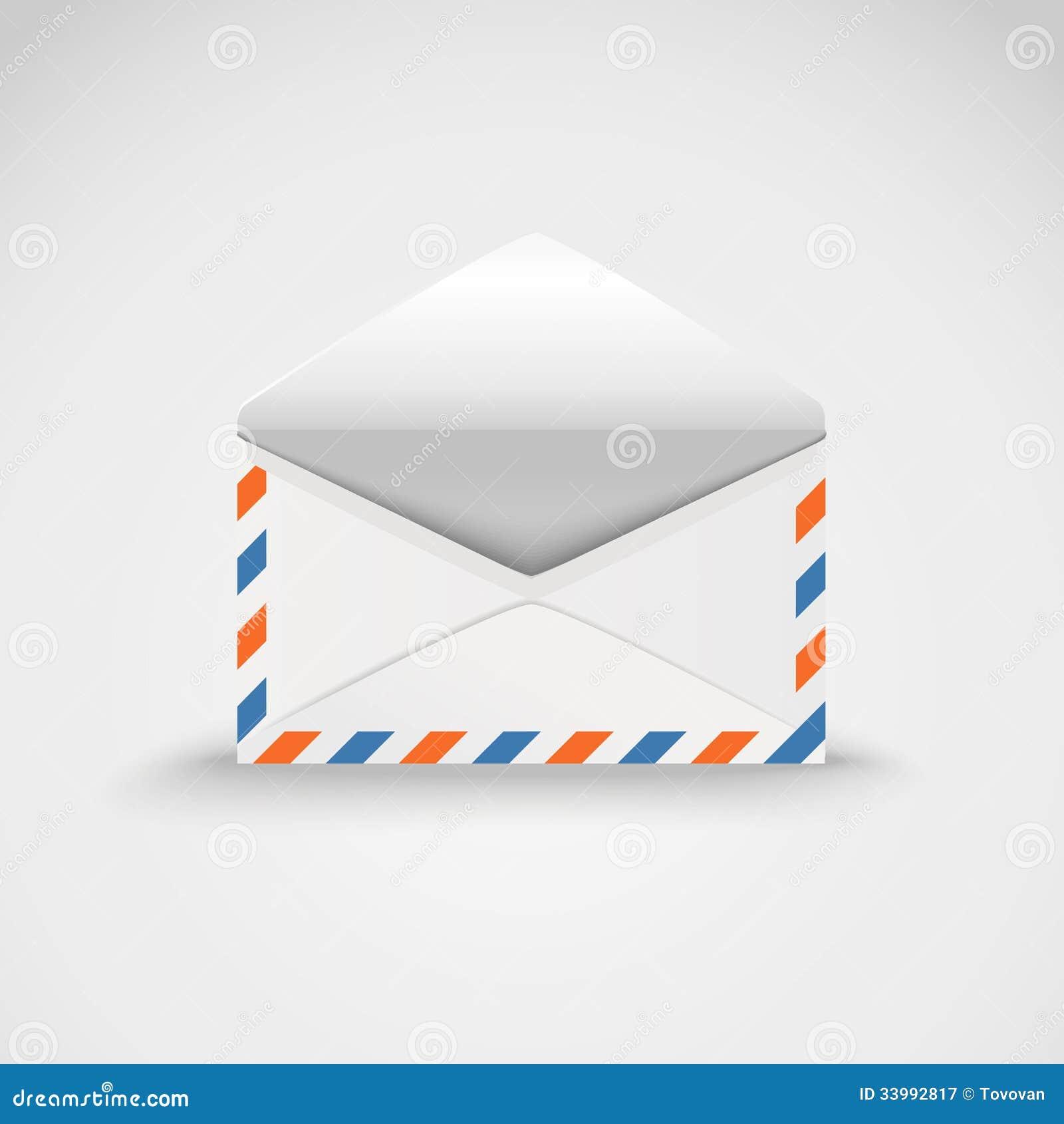 Open white envelope stock illustration. Illustration of ...