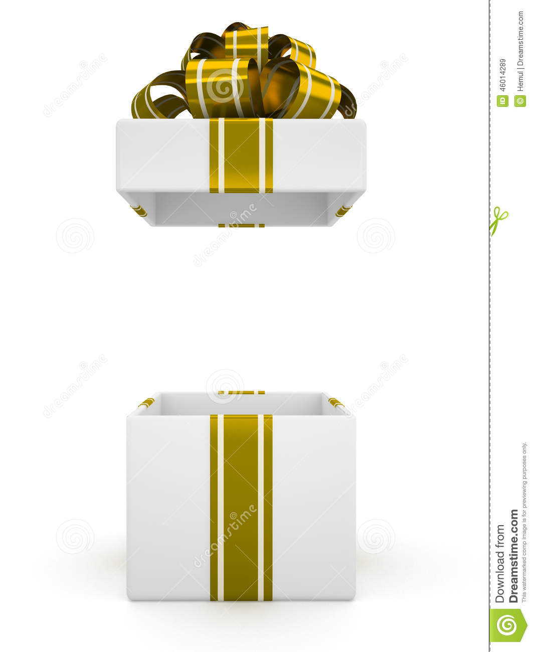 Open White Gift Box With Gold Bow Isolated On White
