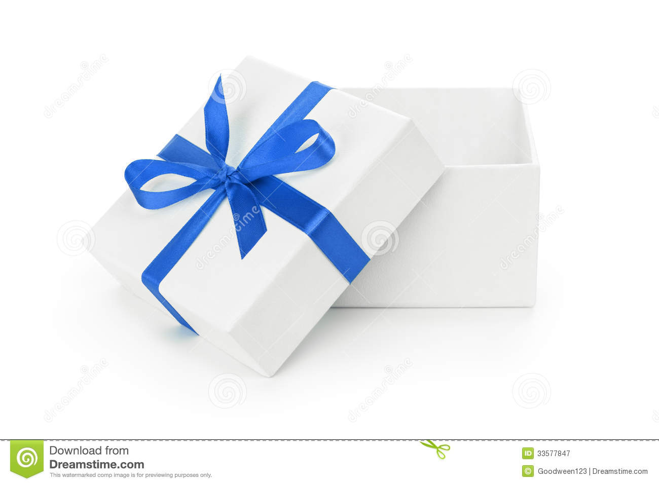 Open White Textured Gift Box With Blue Ribbon Bow Royalty