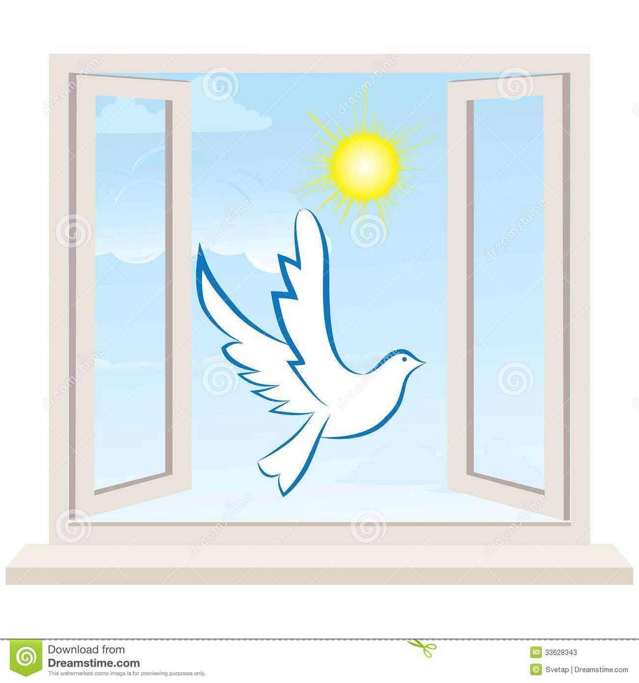 Open Window Against A White Wall And The Cloudy Sky Vector Stock