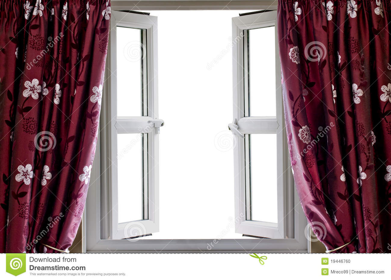 open window and curtains with a blank view stock photo