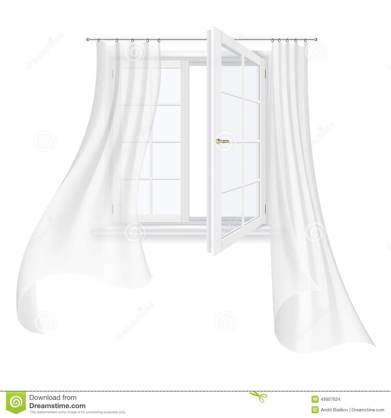 Open Window With Curtains - Open transparent white window