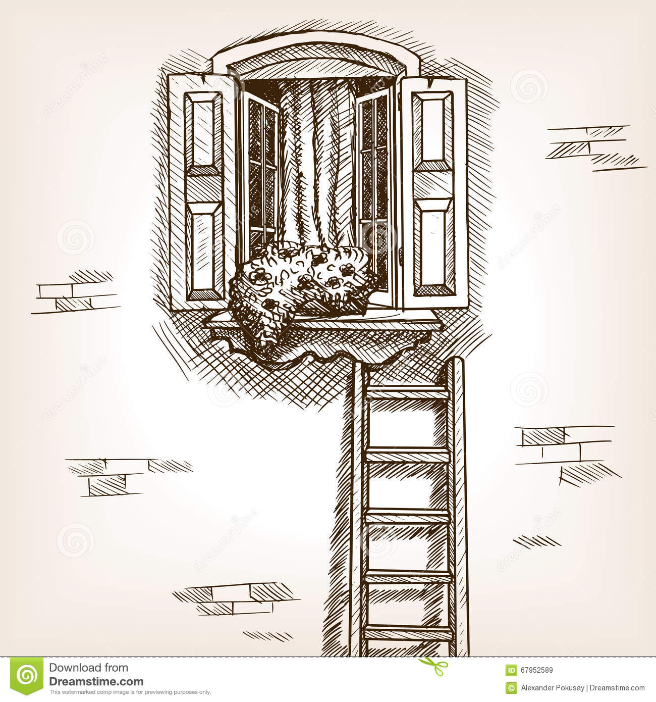 Open Window And Ladder Hand Drawn Sketch Vector Stock