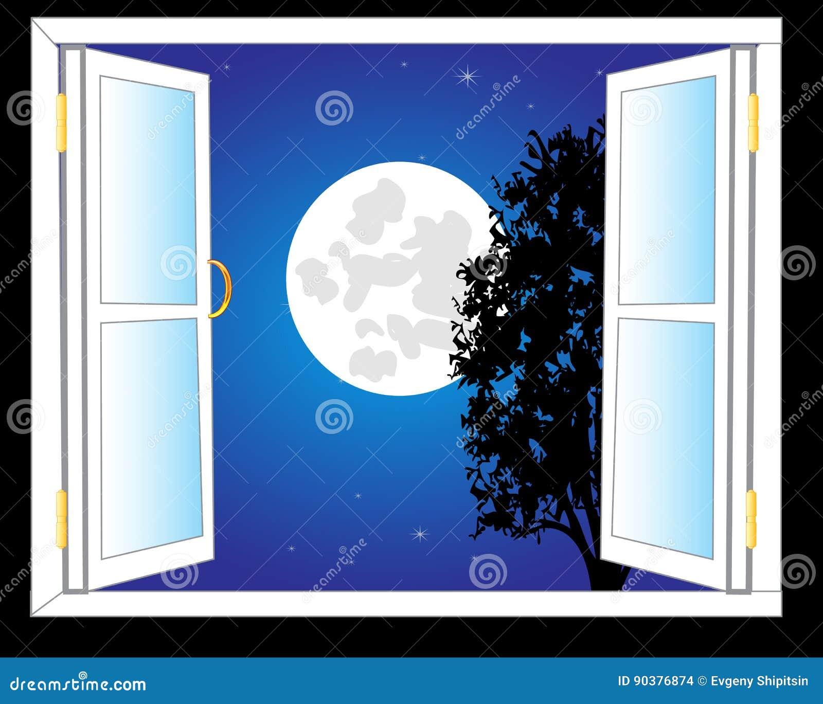 Open window at night - Moon Night Open Stars View Window