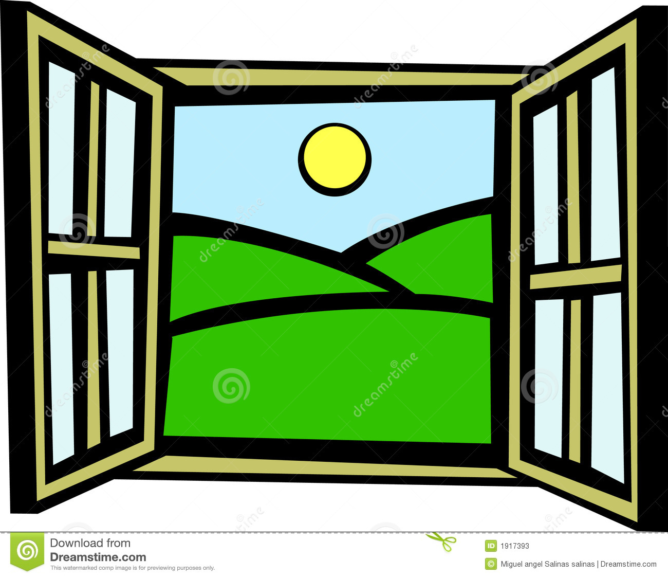 Open Window In The Morning Vector Illustration Stock Photos - Image ...