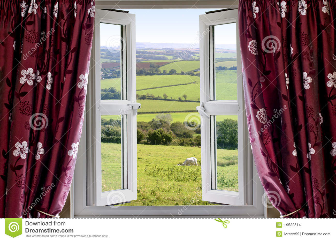 Open window with a rural view stock photo image 19532514 for Ventilation fenetre