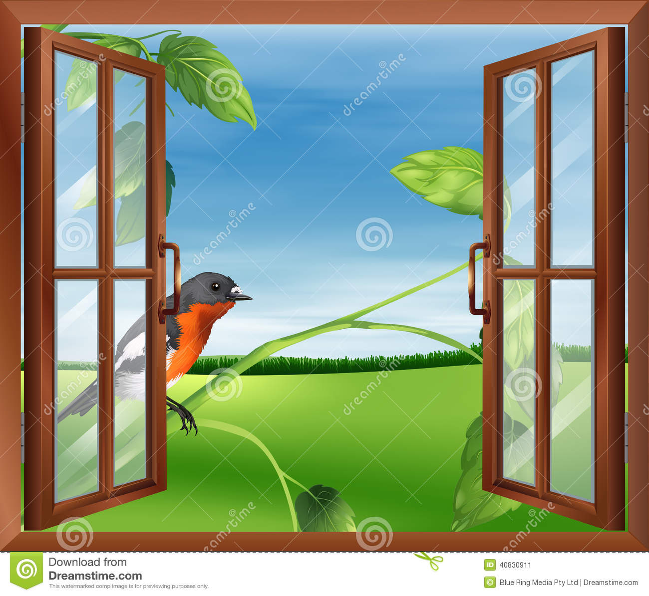 An Open Window With A View Of The Bird Outside Stock Vector ... for Outside Window Clipart  111bof