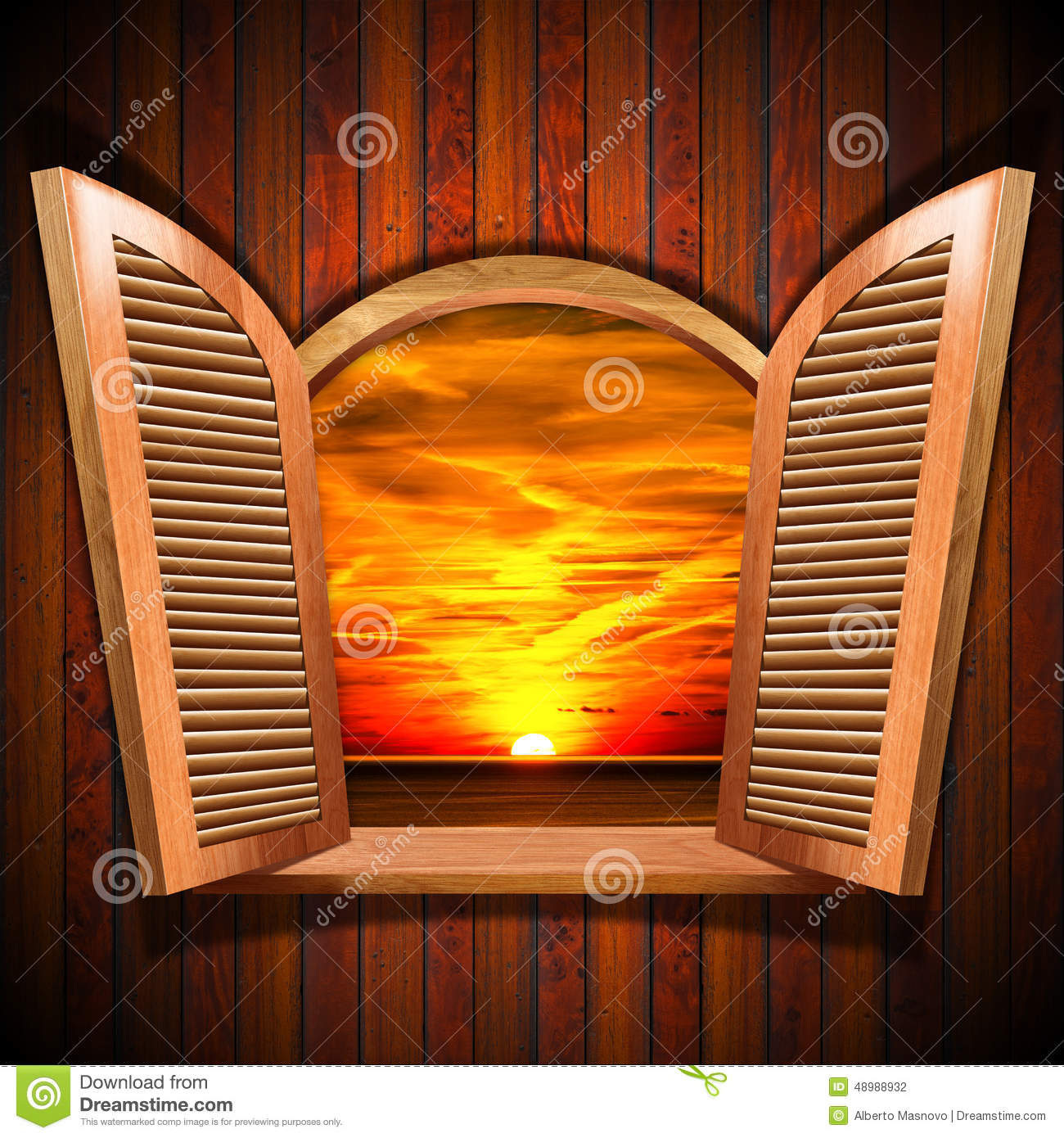 Open Window At Dusk: Open Window With View Of The Sunset Stock Illustration