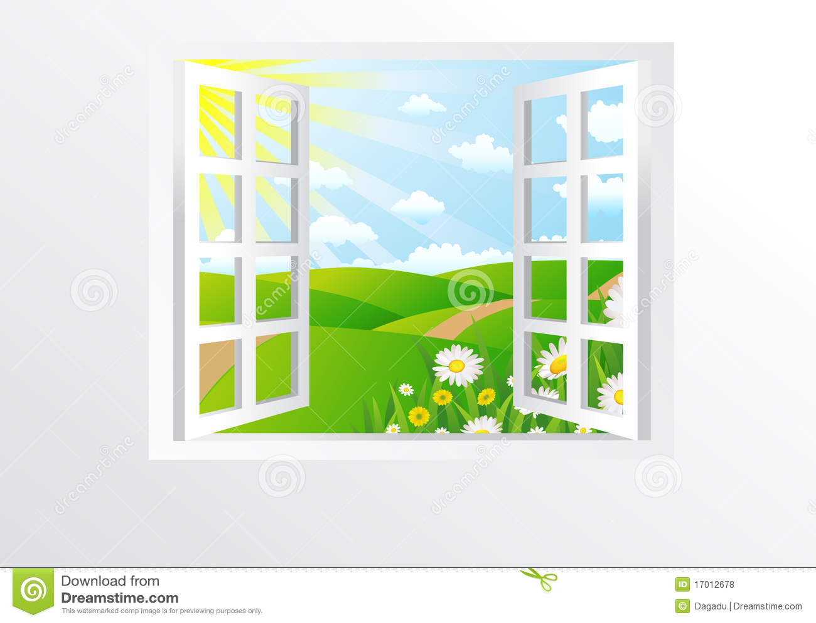 Open Windows Stock Vector Illustration Of Interior
