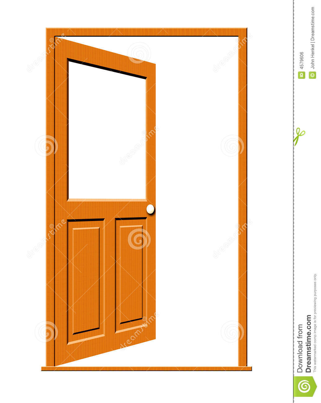 Royalty Free Stock Photo. Download Open Wood Door With Blank Window ...