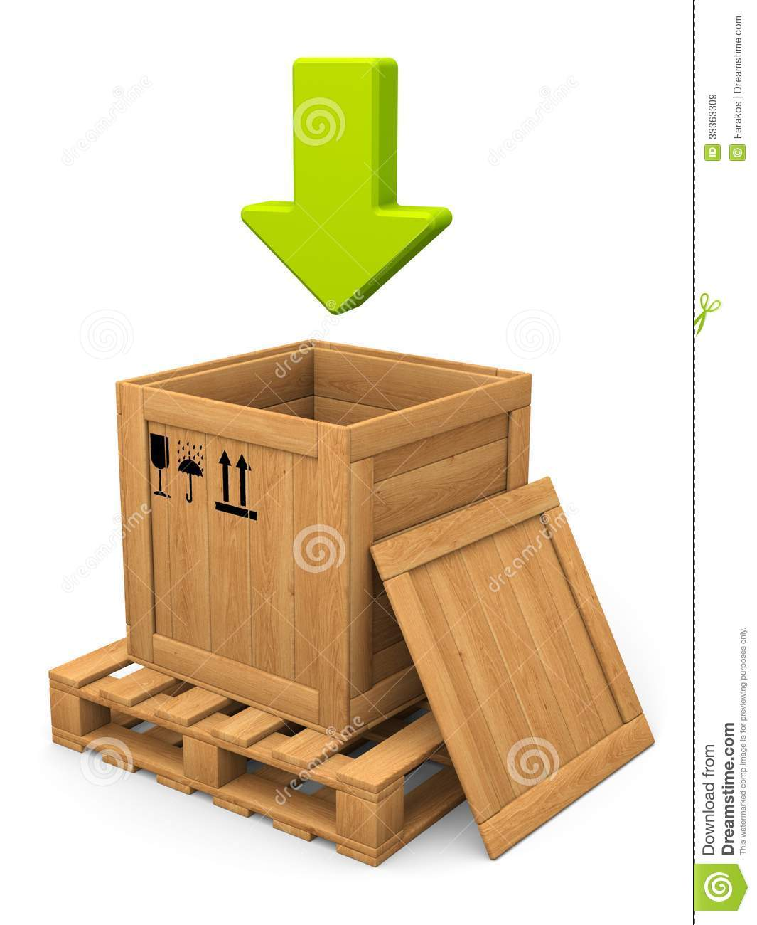 Open Wooden Box And Green Arrow. Download Concept. Royalty