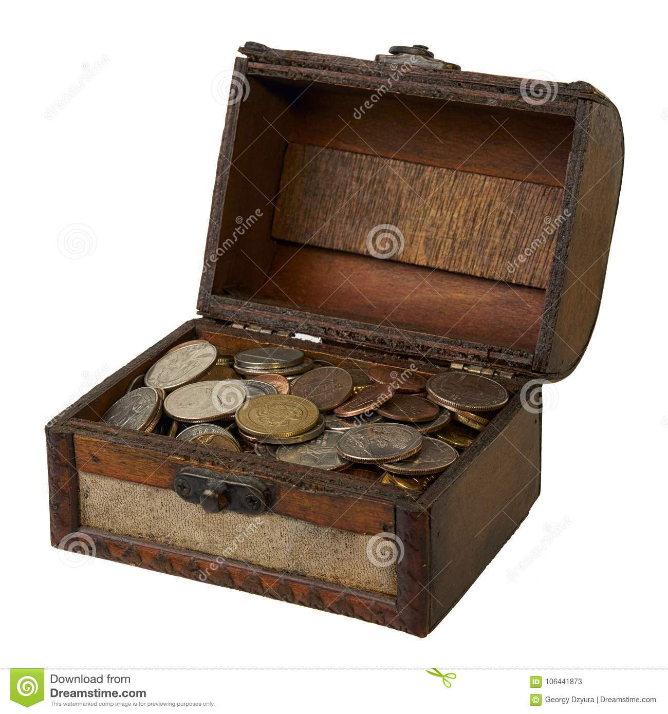 open wooden box with savings stock image image of treasure coins