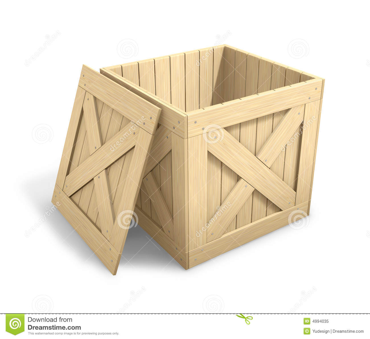 Open Wooden Crate. 3D Wooden Crate Over White Floor Royalty Free Stock Photo