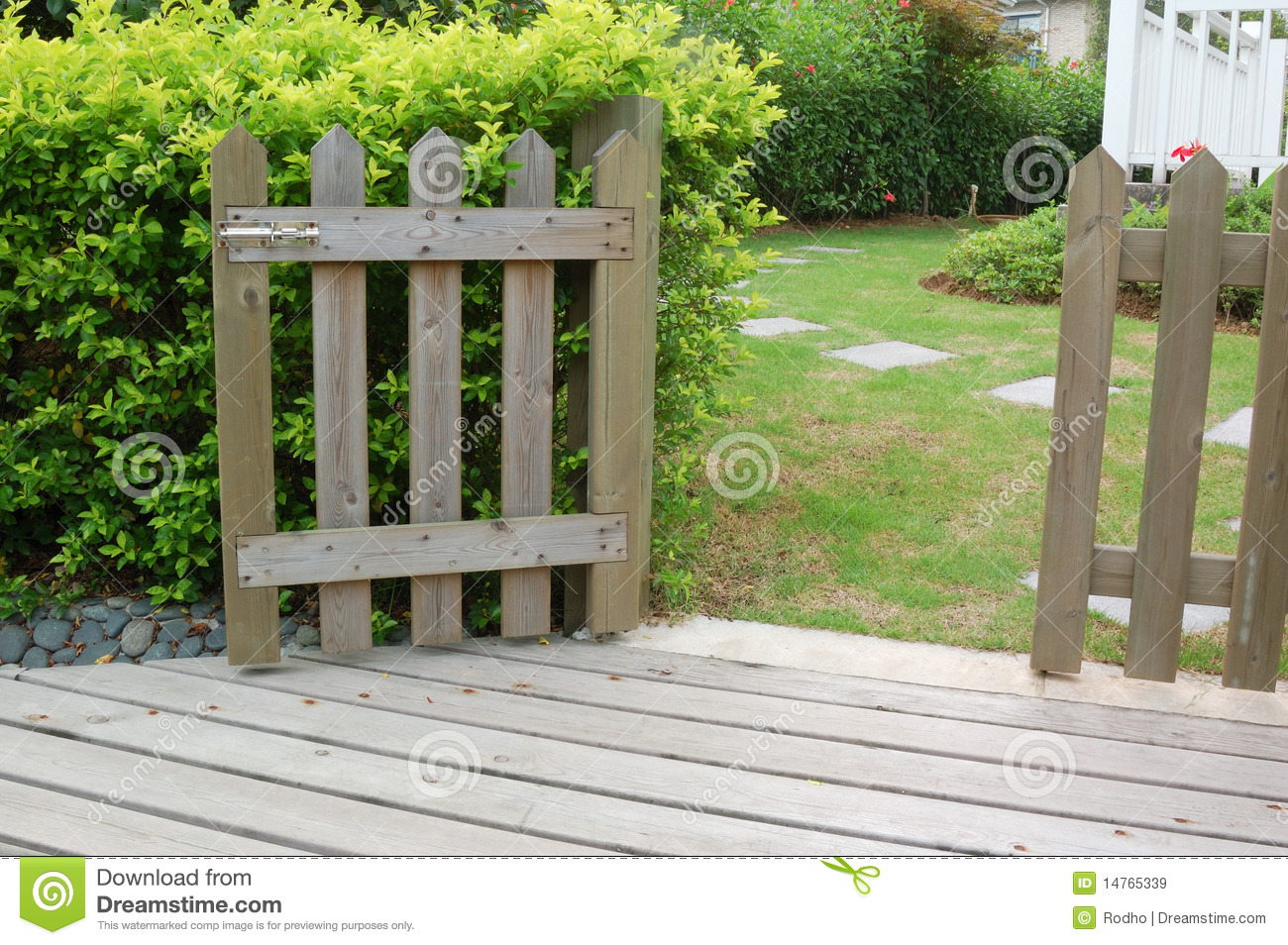 Open Wooden Gate And Fence Stock Image Image Of Lawn