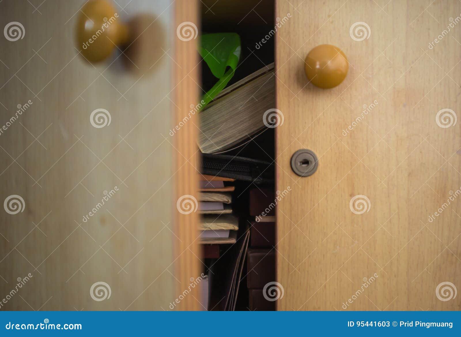 Open wooden locker