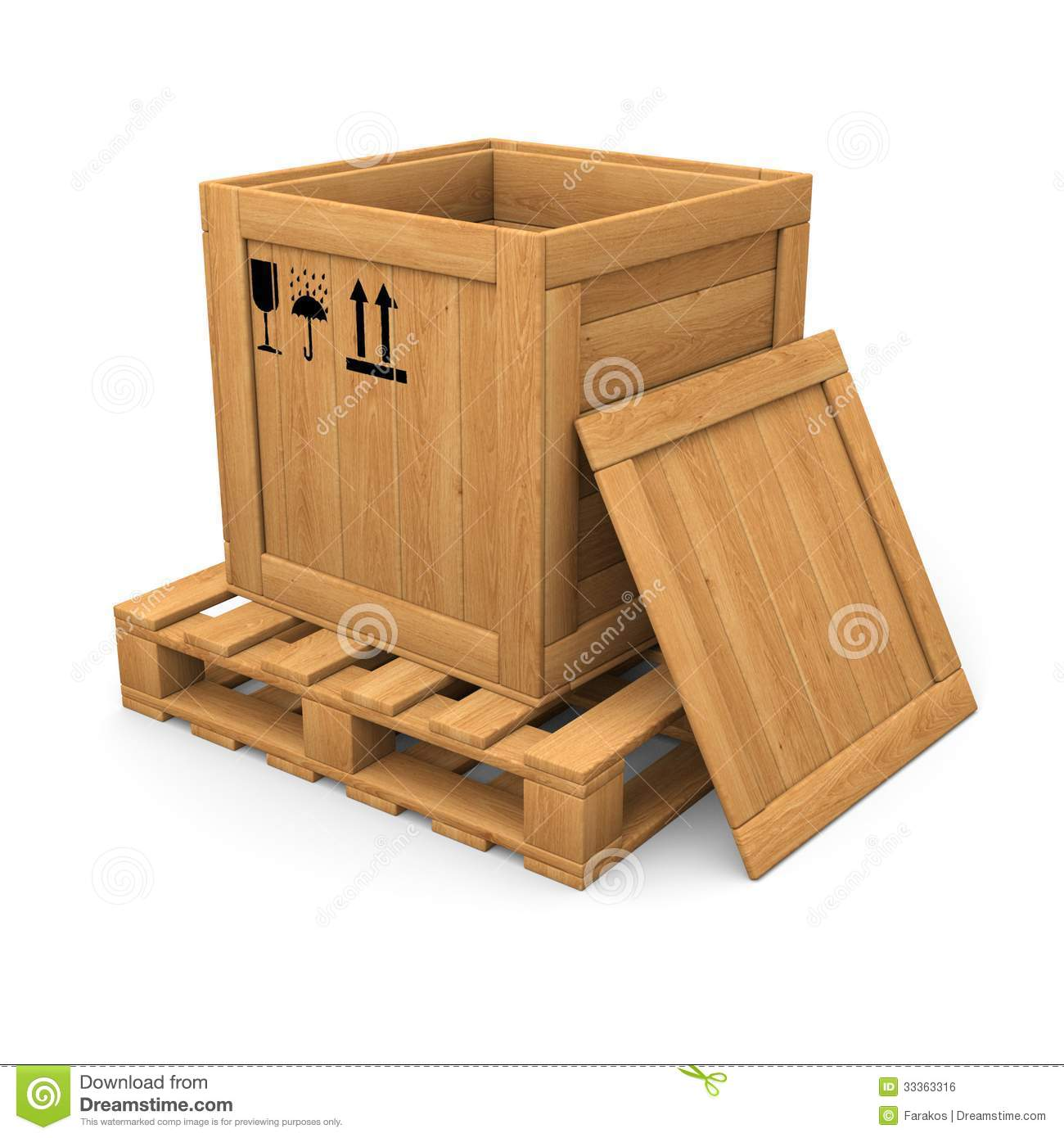 Open Wooden With Print Box On Pallet Stock Illustration