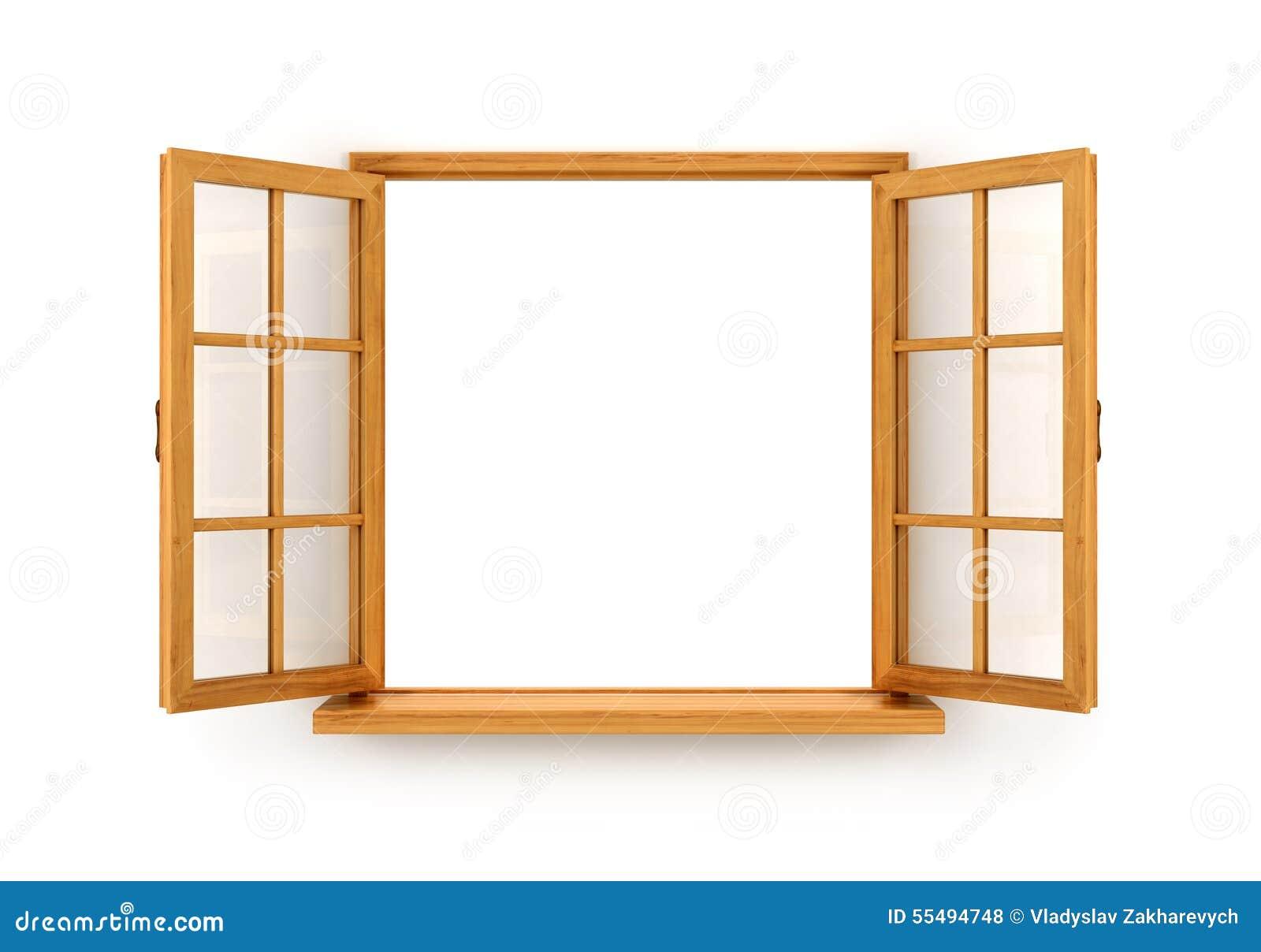 Open Wooden Window Stock Illustration - Image: 55494748