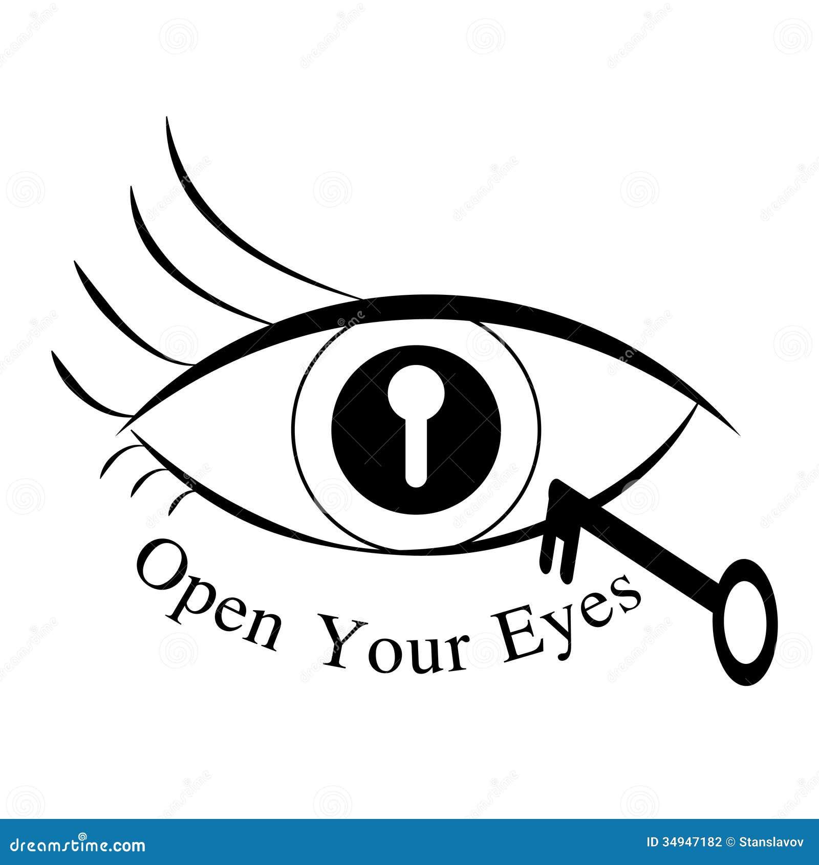 open your eyes  turn on  off symbol  cartoon vector