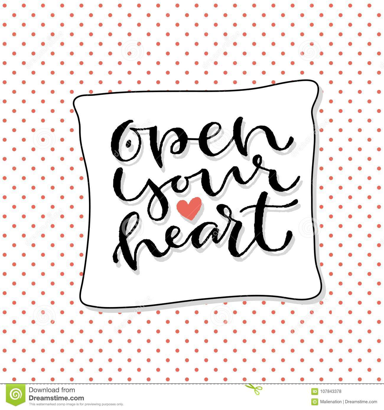 Open Your Heart Handwritten Greeting Card Design Printable Quote