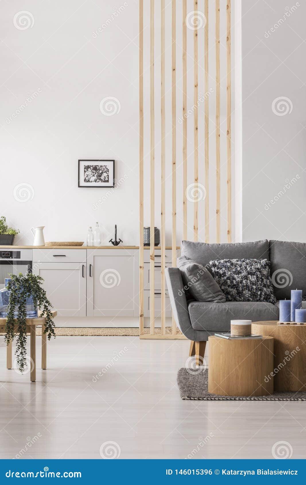 Open zitslaapkamer met kleine witte keuken en woonkamer met grijze laag en houten koffietafel
