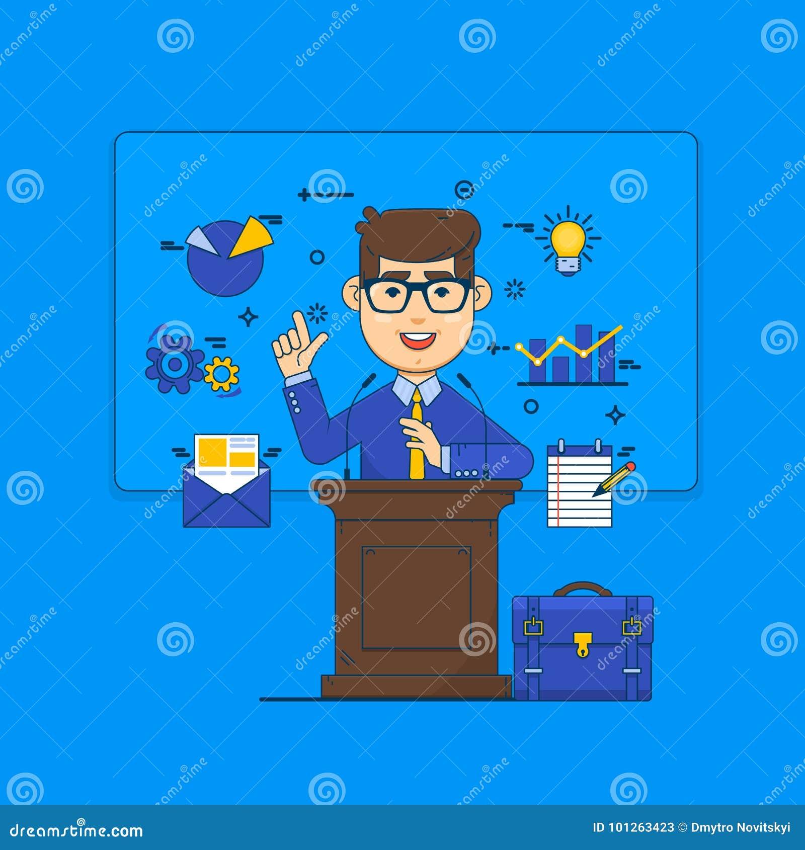 Openbaar het spreken concept Woordvoerder die van tribune en pictogrammen spreken Illustratie van de bedrijfsconferentie de vlakk