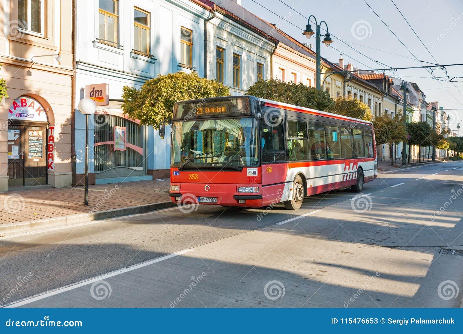 Openbaar vervoer in de Oude Stad van Presov, Slowakije
