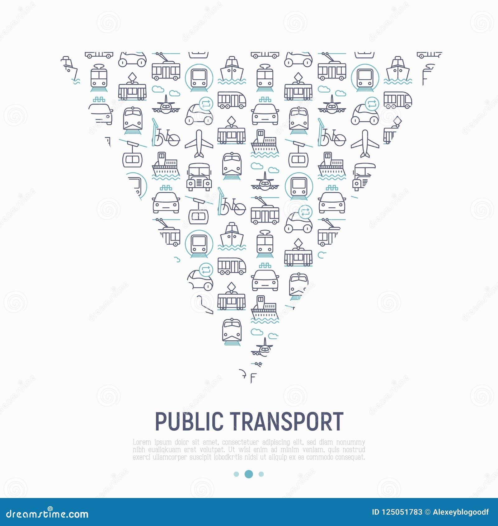 Openbaar vervoerconcept in driehoek