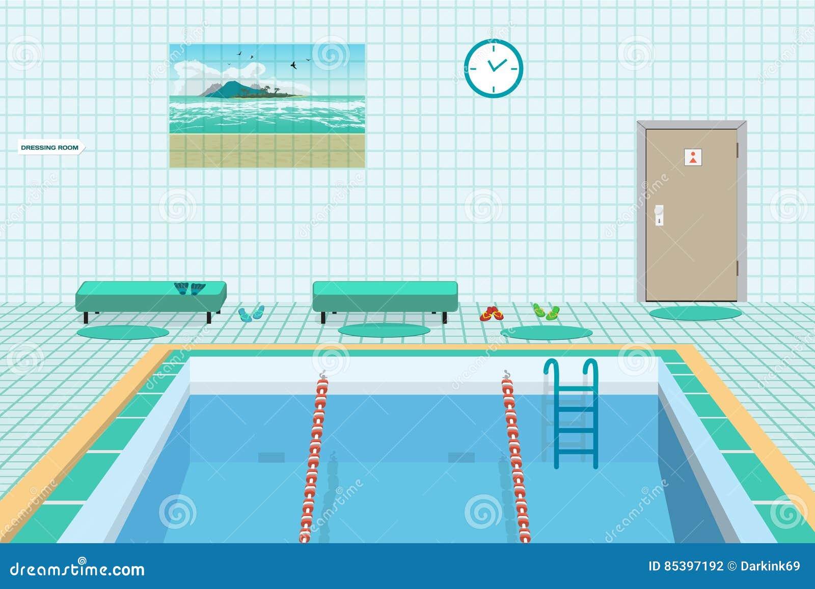 Openbaar zwembad binnen met blauw water