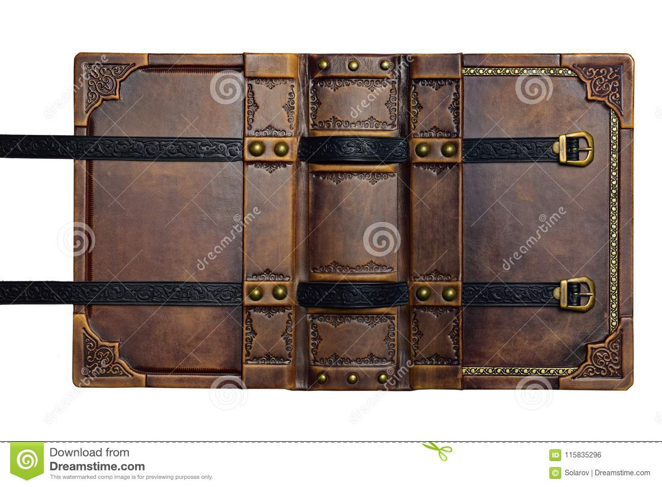 Opened aged brown leather cover with gilded frame and embossed leather stripes
