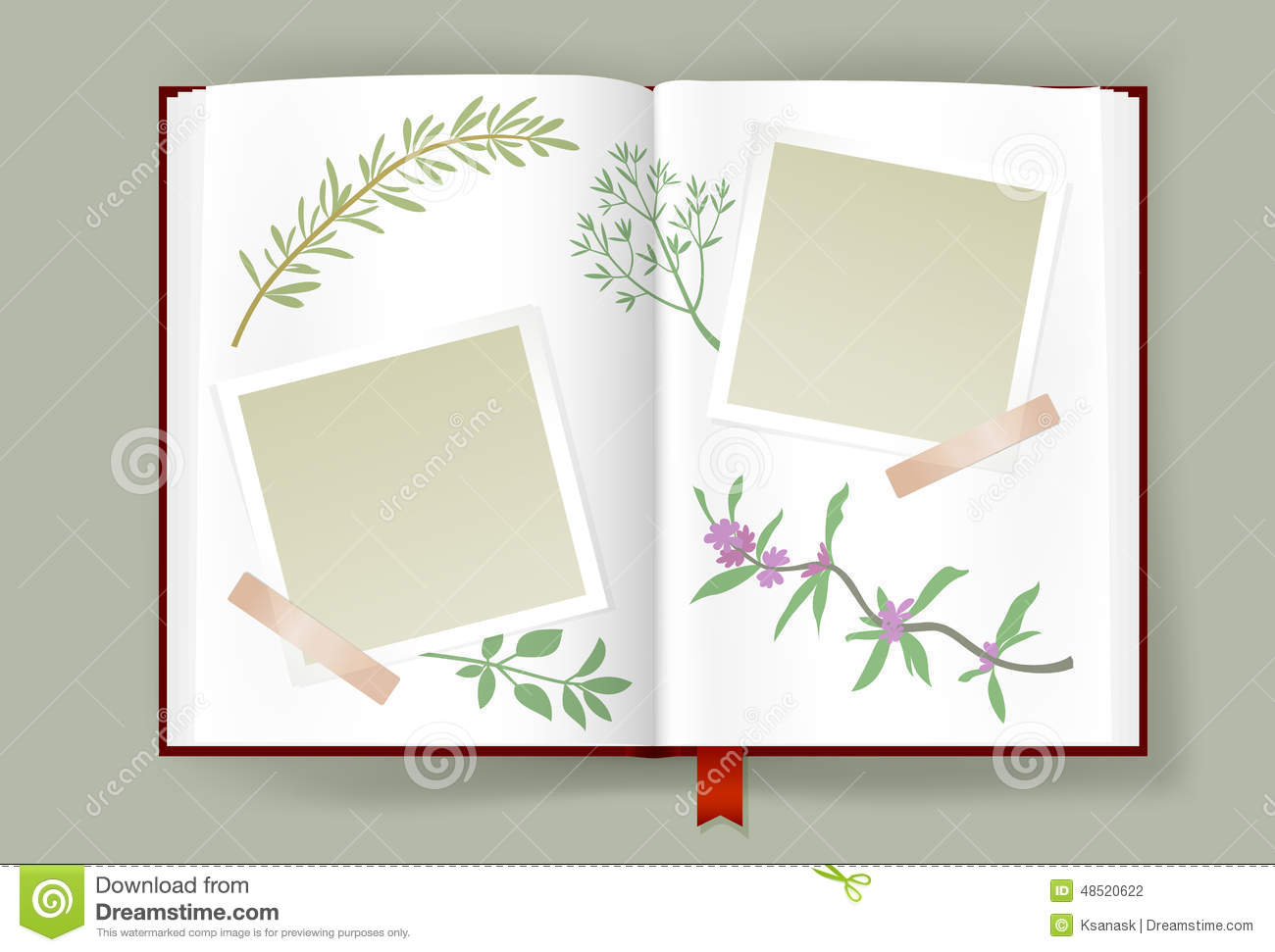 Opened Album With Blank Photo Frames And Aromatic Herbs
