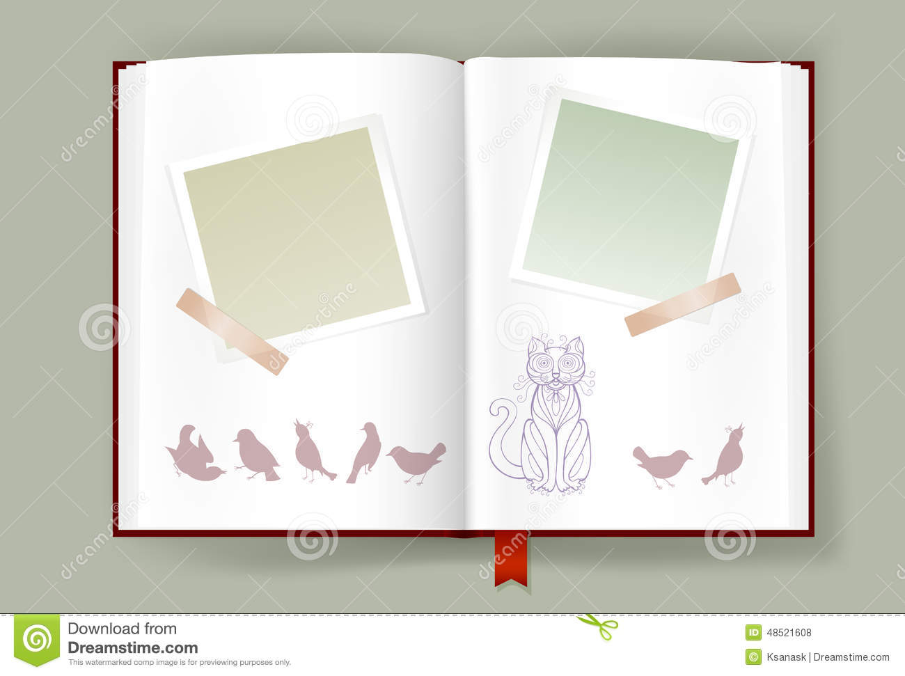 Opened Album With Blank Photo Frames And Funny Cat And Birds