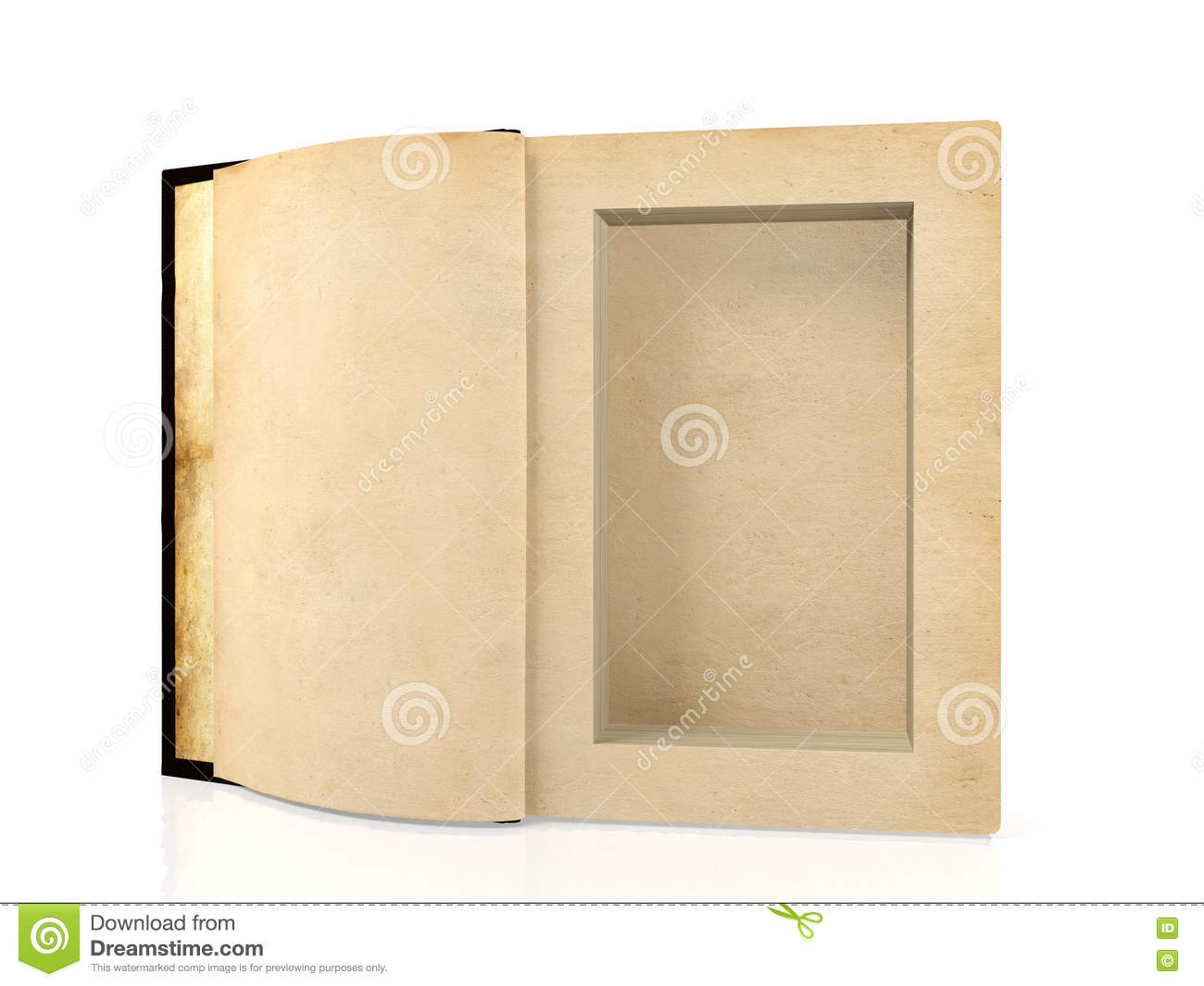 Opened ancient paper book with a hole in a middle for hiding something inside