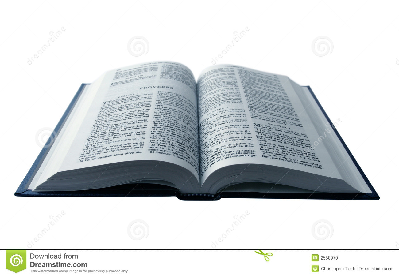 Opened Bible isolated on pure white background.